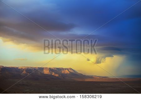 The storm over mountain Masada in Israel