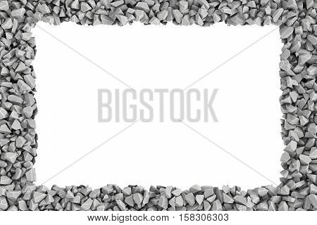 3d rendering of rectangle frame of stones on white background. Photo frame. Building material. Industry-specific background.