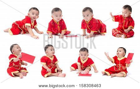 Set of cute Asian baby boy in traditional Chinese suit Isolated on white background Chinese New Year Concept facial expressions various characters