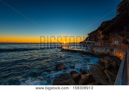Bronte Beach at sunrise in Bronte Sydney Australia.NOV 25,2016 Bronte Beach is a small but popular recreational beach in the eastern suburbs of Sydney, Australia.