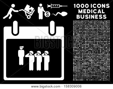 White Army Squad Calendar Day vector icon with 1000 medical business pictograms. Set style is flat symbols, white color, black background.