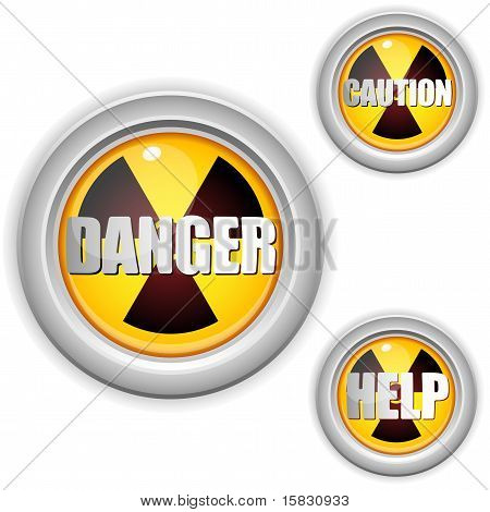 Radioactive Danger Yellow Button. Caution Radiation