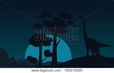 Tree and brachiosaurus scenery of silhouettes vector illustration