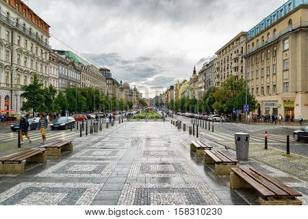View Of The Wenceslas Square In Prague