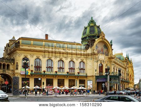 Municipal House At The Republic Square In Prague
