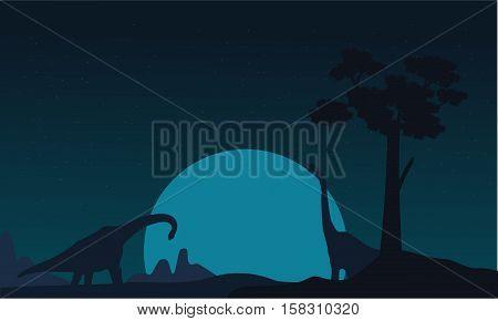 Silhouette of two brachiosaurus landscape vector illustration