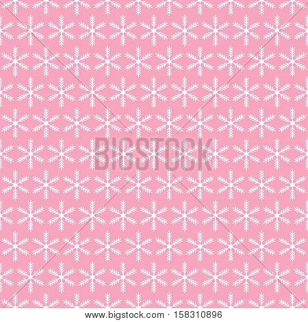 Christmas snowflake seamless pattern background in pink
