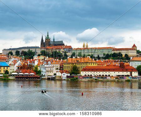 PRAGUE, CZECH REPUBLIC - AUGUST 11, 2014: View of the Lesser Town (Little Quarter) and Castle District (Hradcany) in Prague Czech Republic.
