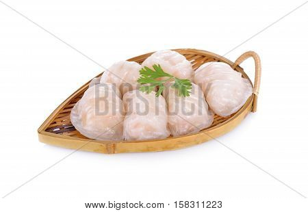 shrimp steamed dimsum ( ha-kao) on bamboo basket with white background