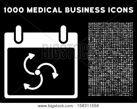 White Cyclone Calendar Day vector icon with 1000 medical business pictograms. Set style is flat symbols, white color, black background.