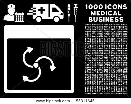 White Cyclone Calendar Page vector icon with 1000 medical business pictograms. Set style is flat symbols, white color, black background.