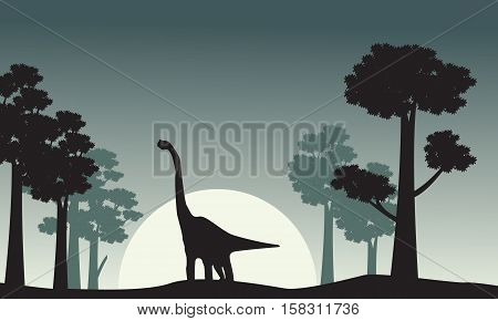 Landscape of brachiosaurus silhouettes vector collection stock