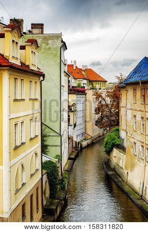 PRAGUE, CZECH REPUBLIC - AUGUST 11, 2014: Colorful buildings at the Lesser Town (Little Quarter) in Prague Czech Republic.