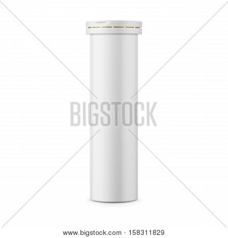 Round white glossy aluminum bottle with cap for effervescent or carbon tablets, pills, vitamins. Realistic packaging vector mockup template. Side view.