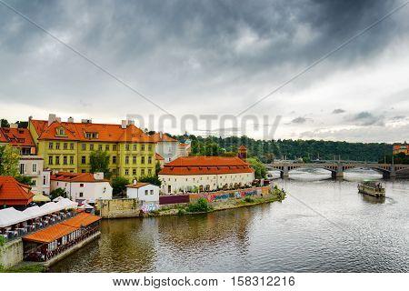 PRAGUE, CZECH REPUBLIC - AUGUST 11, 2014: View of the Lesser Town (Little Quarter) in Prague Czech Republic.