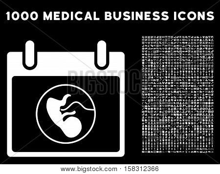 White Embryo Calendar Day vector icon with 1000 medical business pictograms. Set style is flat symbols, white color, black background.