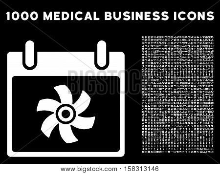 White Fan Calendar Day vector icon with 1000 medical business pictograms. Set style is flat symbols, white color, black background.