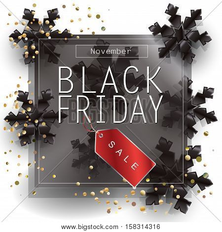 Black Friday Sale poster design, template. Vector illustration. Black Friday Sale discount poster with Price Tag and black snowflakes. Holiday Sale Advertising web banner.