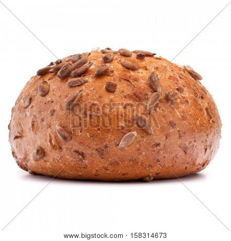 Hamburger bun or roll with sesame seeds isolated on white background cutout