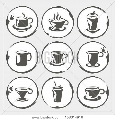 Coffee cup icons with stain isolated on gray background