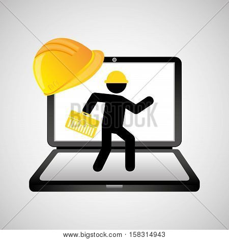 under construction web page worker tool box vector illustration eps 10