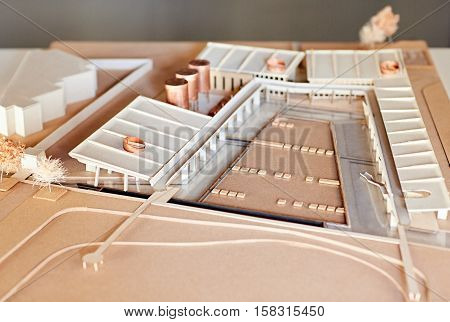 Closeup detail of an elaborate architectural scale model of a large building development
