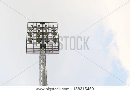 Lighting poles. The illumination lamp mounted on stilts.