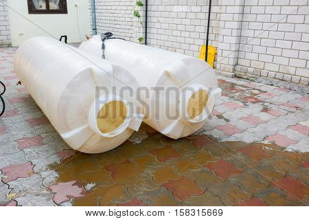 Cleaning Plastic Tanks Volume Of One Cubic Meter Of Drinking Water, Dirty Rusty Sediment