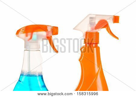 Two Spray Bottle With Cleaning Agents On A White Background Isolated
