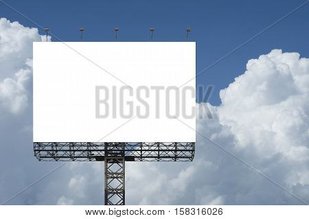 Blank Big Billboard Against Blue Sky Background.for Your Advertising,put Your Own Text Here.isolate