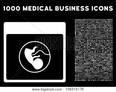White Human Embryo Calendar Page vector icon with 1000 medical business pictograms. Set style is flat symbols, white color, black background.