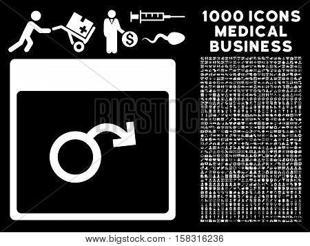 White Impotence Calendar Page vector icon with 1000 medical business pictograms. Set style is flat symbols, white color, black background.