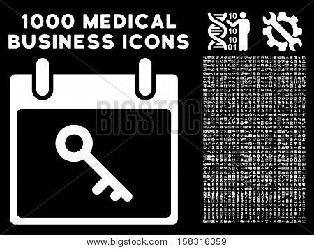 White Key Calendar Day vector icon with 1000 medical business pictograms. Set style is flat symbols, white color, black background.