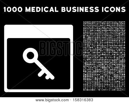 White Key Calendar Page vector icon with 1000 medical business pictograms. Set style is flat symbols, white color, black background.