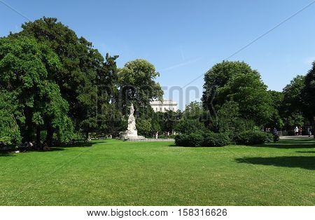 The Burggarten Park at Hofburg Palace in Vienna, Austria