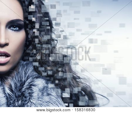 Close-up half face of portrait of young, healthy and beautiful girl with mosaic. Plastic surgery, beauty medicine, cosmetics and visage concept.