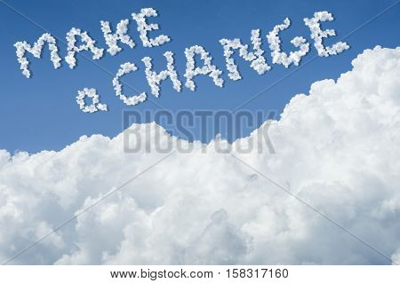 Beautiful Blue Sky And White Cloud. Sunny Day.cloudscape.close Up The Cloud.text Make A Change.get A