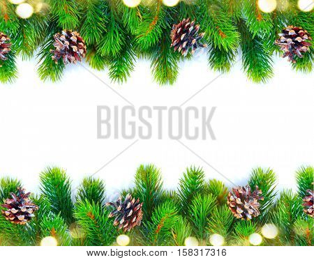 Christmas Tree with Cones and lights border isolated on a White background. New Year holiday evergreen tree, Xmas green framework