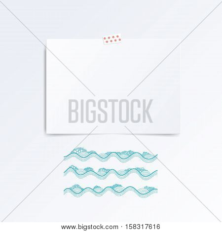 Vector white Note paper on the wall this waves. Hipster mood board template. Mock up.
