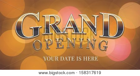 Grand opening vector banner, poster, illustration, flyer, invitation. Nonstandard graphic design element with retro, vintage style lettering for opening ceremony