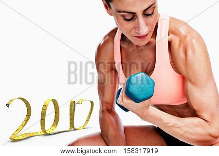 3D Strong woman doing bicep curl with blue dumbbell against white background with vignette