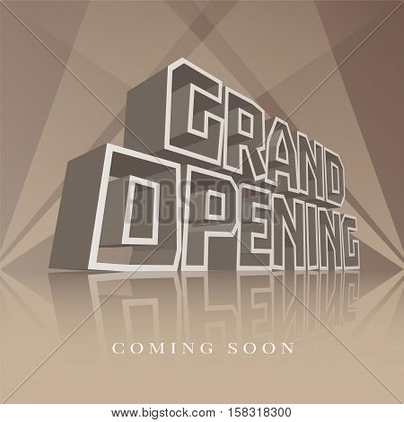 Grand opening vector banner, poster, illustration, flyer, invitation. Unusual design element with retro, vintage 3d lettering for opening ceremony