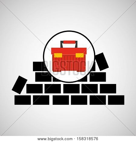 wall brick tool box design vector illustration eps 10