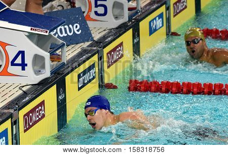Hong Kong China - Oct 29 2016. Mitch LARKIN (AUS) and Omar PINZON (COL) in the finish. FINA Swimming World Cup Preliminary Heats Victoria Park Swimming Pool.