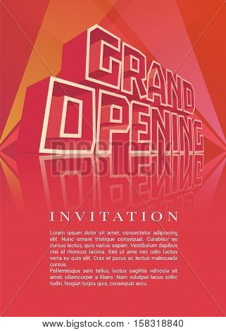 Grand opening vector banner, illustration, flyer, poster. Template design element with 3d letters for opening ceremony, shop, startup