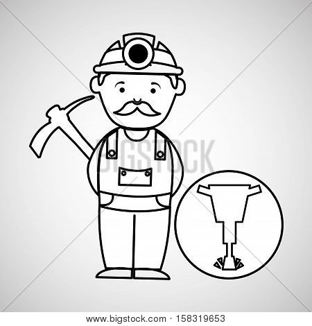 mine worker pickaxe with jackhammer vector illustration eps 10