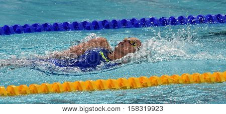 Hong Kong China - Oct 29 2016. Olympian swimmer Evelyn VERRASZTO (HUN) swimming backstroke. FINA Swimming World Cup Preliminary Heats Victoria Park Swimming Pool.