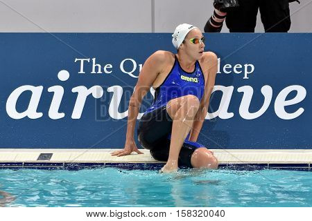 Hong Kong China - Oct 29 2016. Olympian swimmer Evelyn VERRASZTO (HUN) after finishing 200m backstroke. FINA Swimming World Cup Preliminary Heats Victoria Park Swimming Pool.