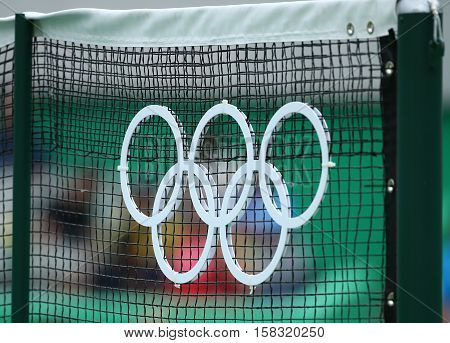 RIO DE JANEIRO, BRAZIL - AUGUST 11, 2016: Olympic rings at the main tennis venue Maria Esther Bueno Court of the Rio 2016 Olympic Games at the Olympic Tennis Centre