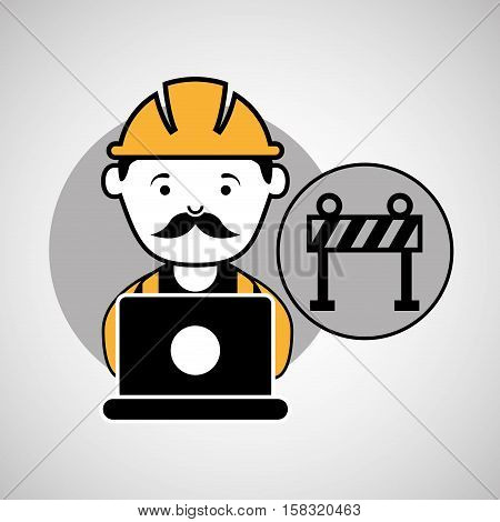 under construction laptop worker barrier vector illustration eps 10